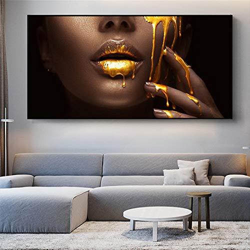 JinYiGlobal Afrikanische Frau Golden Sexy Lips Leinwandbilder Kunst Poster und Drucke Gesicht Wandkunst Bild für Wohnzimmer Dekor 80x160cm Ungerahmt