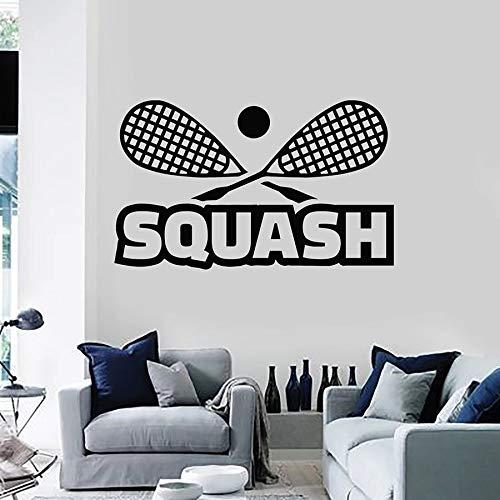 HFDHFH Calcomanía de Pared con Letras, Raqueta de Club de Squash, Juego de Deportes, decoración de Interiores, Pegatina de Vinilo, Mural artístico para Dormitorio Adolescente