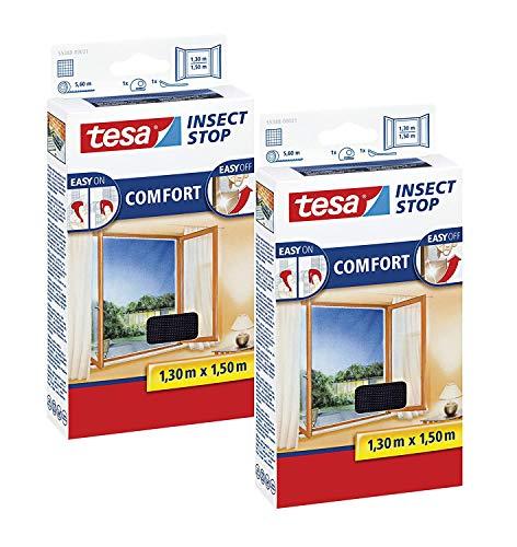 tesa Insect Stop COMFORT Fliegengitter für Fenster - Insektenschutz mit Klettband selbstklebend - Fliegen Netz ohne Bohren - anthrazit (durchsichtig),1,3m:1,5m - 2 Stück)