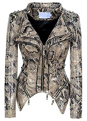 chouyatou Women's Fashion Snake Pattern Print Studded Moto Pu Leather Biker Jacket (Large, Snake-Skin)