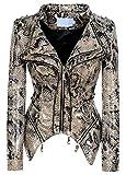 chouyatou Women's Fashion Snake Pattern Print Studded Moto Pu Leather Biker Jacket (X-Large, Snake-Skin)