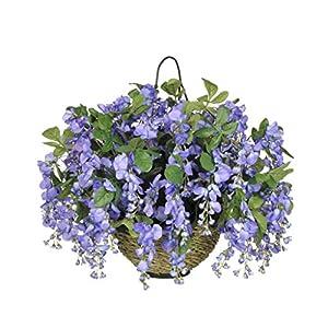 House of Silk Flowers Artificial Dark Violet/Blue Wisteria in Water Hyacinth Hanging Basket (White Water Hyacinth)