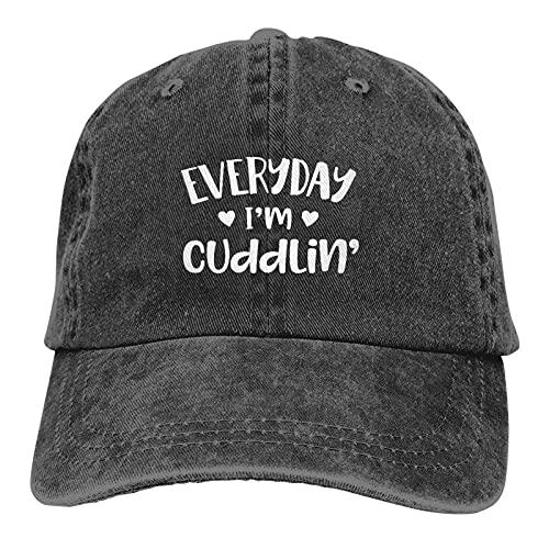 398 Everyday I'm Cuddlin' - Gorra de béisbol unisex de algodón, ajustable, estilo clásico, casual, color negro