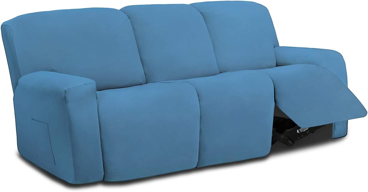 Easy-Going Bargain 8 Pieces Microfiber Stretch Recliner Popular brand S Sofa Sectional
