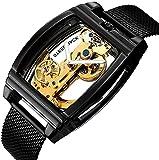 ZFAYFMA Reloj automático Hombre Hollow Dial Strap de Cuero Multifuncional Tourbillon Mecánico Reloj Mercantil Steampunk Acero Inoxidable Movimiento Movimiento Moda Regalo Ca Black