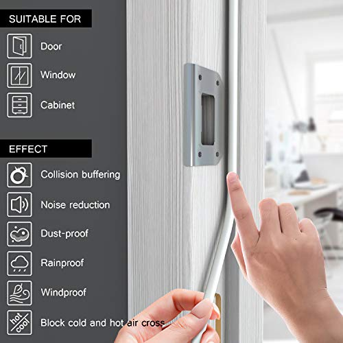 Weather Stripping for Doors and Windows,Tolmnnts All-Climate D-Type Self-Adhesive Foam Seal Strip for Doors/Windows Gap Blocker and Sound Insulation,66FT(20M) 2Pack,White