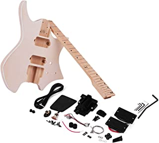 Festnight DIY Electric Guitar Kit, Unfinished Guitar DIY Kit Fingerboard Pickup Wood Guitar Body
