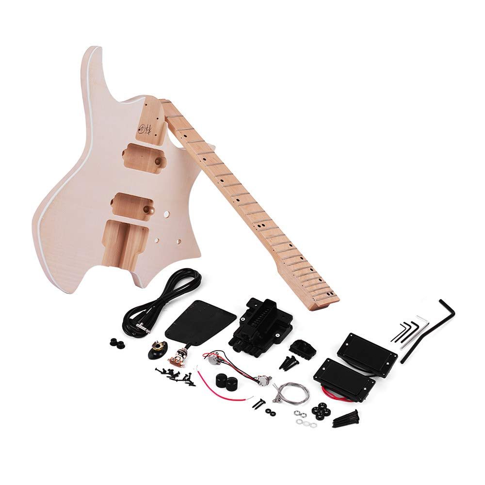 Cheap Muslady DIY Electric Guitar Kit Unfinished Basswood Body Maple Wood Fingerboard Guitar Neck Without Headstock Black Friday & Cyber Monday 2019