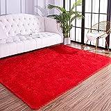 AROGAN Fluffy Area Rug for Bedroom Living Room Rug, Plush Soft Fuzzy Area Rugs, Comfy Shag Carpet for Nursery Kids Girls Play Area 4x6 Feet, Red