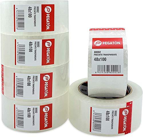 ZCENTER 6 Rollos Cinta Embalar 48MMx100M Cinta embalaje Cinta adhesiva para Cajas y Paquetes-Color Transparente