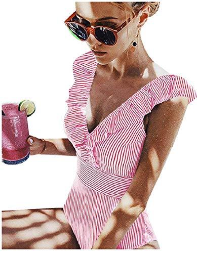 Traje de baño de una pieza para mujer, para la playa, cuello en V, favorecedor, cuerpo entero, a rayas con flores, bikini para mujer, sujetador push up rojo XXL