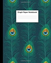 Graph Paper Notebook: Peacock Eye Feathers Quad Ruled 5 x 5 (.20'') Graphing Paper Composition Book for Math Science Students Teachers - 5 Squares per Inch, Large.