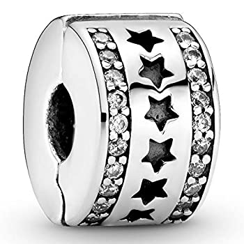 Pandora Jewelry Row of Stars Clip Cubic Zirconia Charm in Sterling Silver