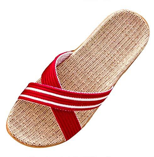 Waqihreu Straw Low Heels, Die Hausschuhe, die das Haus besetzen, Leinen flach, Sweet Beach, süße Hausschuhe für Frauen, rutschfeste Sandalen Slip für Paare, Lightweight Silent, Frauen Hausschuhe
