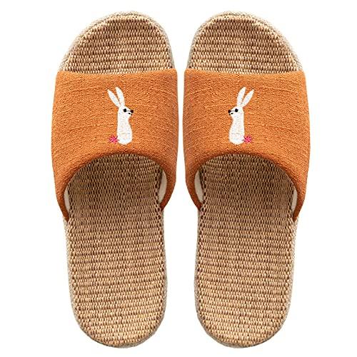 ypyrhh Palabra de Mujer con Sandalias,Zapatillas de Lino de algodón Padre-Hijo,Zapatillas de Silencio de Pisos-Naranja_40-41 Masculino,Tira Ancha Suela con Agujero