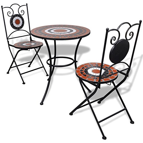 vidaXL Set Mueble Mesa Mosaico 60cm 2 sillas jardín Patio Color Terracota Blanco