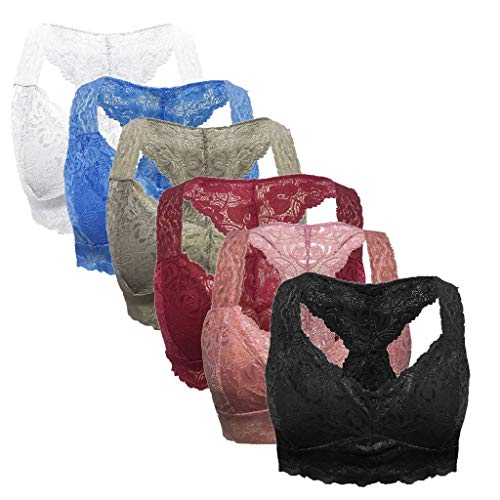 6PC Women Plus Size Vest Crop Wire Free Bra Lingerie Sexy V-Neck Underwear(Black White Pink Wine Blue Gray) 3X