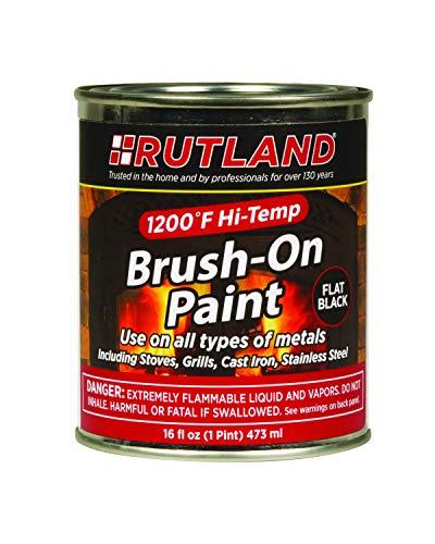 Rutland Products Rutland 1200-Degree F Brush-On Flat Stove Paint, 16 Fluid Ounce, Black, Fl Oz (Pack of 1)