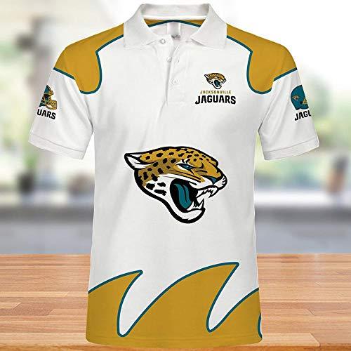 XUEMEI NFL Herren T-Shirt, Jacksonville Jaguars Poloshirt, Rugby Fans Collection Trikot, Half Sleeve Sportswear, Lässige Tops as Shown-M