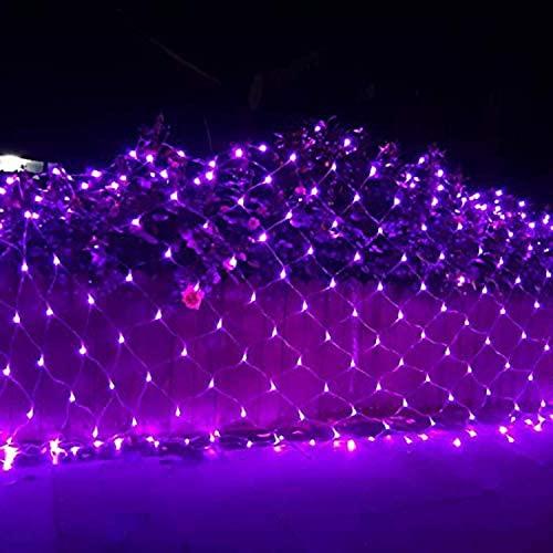 DYB Net Light Led Net Mesh Fairy String Luces Decorativas Envoltura de árboles de Navidad Boda Jardín Hogar Interior Decoraciones para Exteriores (Color: Púrpura, Tamaño: 6 * 4M-220V)