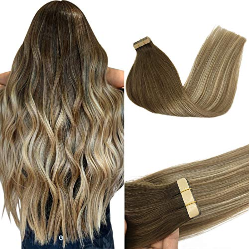 GOO GOO Human Hair Extensions Tape in 18 Inch Ombre Walnut Brown to Ash Brown and Bleach Blonde Real Human Hair Extensions 20pcs 50g Remy Tape in Hair Extensions Human Hair
