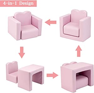 JOYMOR Multifunctional 2in1 Kids Sofa, PVC Toddler Armchair Sofa with Compact Design, Padded Sofa Chair Table Set for Girls & Boys (Pink)