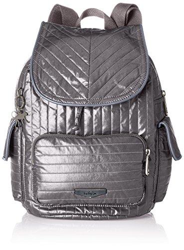 Kipling - City Pack S, Mochilas Mujer, Grau (Shiny Grey), 27x33.5x19 cm (B x H T)
