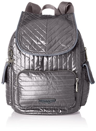 Kipling Damen City Pack S Rucksack, Grau (Shiny Grey), 27x33.5x19 cm