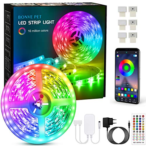 Striscia Led 6 Metri, Bonve Pet Led Striscia RGB 5050, Controllo App e Telecomando IR, Musica Strip Led, Luci led Colorati per Camera da Letto Decorazioni Cucina TV Festa Bar
