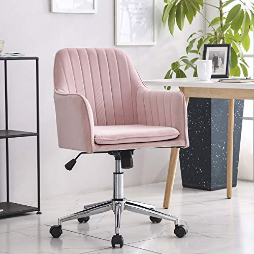 LPEAK Office Computer Chairs for Home, Executive PC Computer 360°Swivel Height Adjustable Chair Rocking Chair with Wheels,Pink