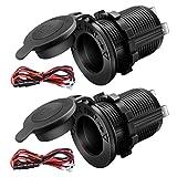 12V Cigarette Lighter Socket Car Marine Motorcycle ATV RV Lighter Socket Power Outlet Socket Receptacle Waterproof Plug 2Pack By MUZHI