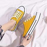 COQUI Zapatos de Ducha,2020 nuevos Zapatos de Lona Perezosos de Suela Alta Medio Arrastre sin tacón Zapatos Casuales Zapatos de Plataforma Deportiva para Estudiantes de un Pedal-Amarillo_36