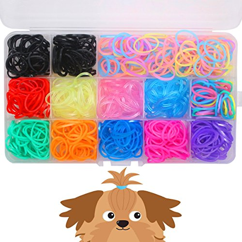 YOY 3/4' Pet Dog Stretchy Rubber Bands, 600/Box - Puppy Elastics Ties Pony Tail Holders Hair Accessories for Doggy Grooming Top Knots Ponytails Braids and Dreadlocks