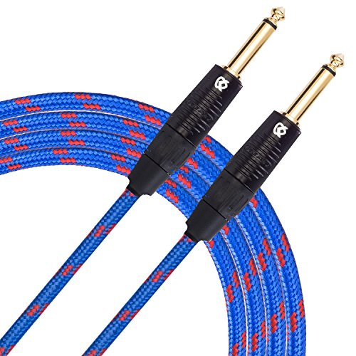 KLIQ Cable para instrumentos de guitarra, 10 pies – Serie personalizada con conectores dorados rectos de 1/4 pulgadas Rean-Neutrik, color azul y rojo Tweed
