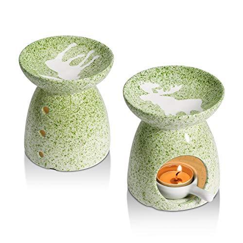 ComSaf Dekorativ Elk Keramik Duftlampe Teelicht 2er Set, Wachs Aromalampe Duftöl Kerzenhalter Elchmuster, Aromabrenner für Duftöl und Duftwachs mit der Candle Löffel Aroma Diffuser(Grün)
