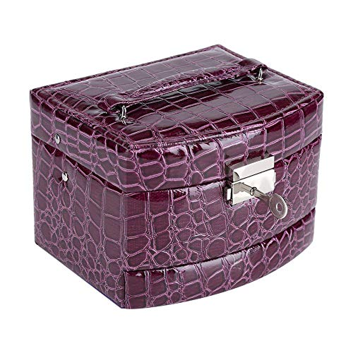 Joyero, PU 3 capas Caja de almacenamiento de anillo de collar de joyería, Caja de almacenamiento de mano de obra fina con espejo, para guardar relojes Anillos Pendientes (púrpura)