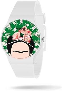 Panapop | Frida | Reloj Pulsera Mujer | Correa Blanco Silicona | Hebilla | Frida Kahlo | Licencia Oficial
