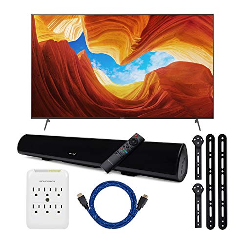 Sony XBR-65X900H 65-Inch Class HDR 4K UHD Smart LED TV (2020 Model) with Knox Gear Wireless Bluetooth soundbar with Bracket mounts, 4K HDMI Cable, and 6 Outlet Surge Protector Bundle (5 Items)