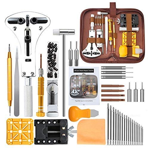 Watch Repair Kit, E·Durable Professional Spring Bar Tool Set 149 in 1 Watch Battery Replacement Tool Kit with Mannual and Carrying Bag Durable Watch Repair Tool Screwdriver Spring Bar Tool Set