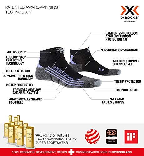 X-Socks Damen Run Discovery Women laufsocken Sportsocken Socken Strümpfe, Black/Stone Grey Melange, 41/42