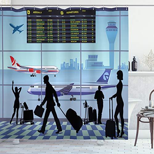 ABAKUHAUS Flughafen Duschvorhang, Flugzeuge Menschen Flug Vorstand, Waschbar & Leicht zu pflegen mit 12 Haken Hochwertiger Druck Farbfest Langhaltig, 175x220 cm, Mehrfarbig