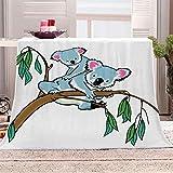 LIGAHUI Manta Polar con Flecos de Pompones Koala de Dibujos Animados Plaid Manta de Franela para el sofá Cama Apta para Todas Las Estaciones 180x200 cm