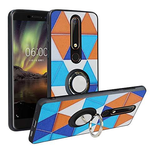 Alapmk Cover Nokia 6.1 2018, [Pattern Design] con 360 Magnetica per Auto, Custodia Protettiva TPU Protettiva Custodia Cover per Nokia 6.1 2018,Triangle