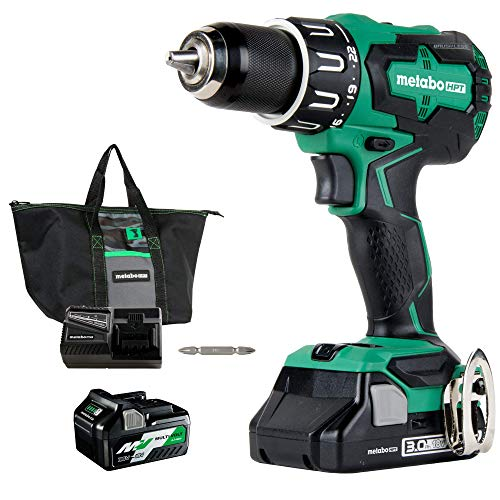 Metabo - HPT DV18DBFL2TM 18V Cordless Li-Ion Brushless Hammer Drill, 3.0Ah Batteries (Renewed A)