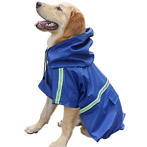 Dog Raincoat Leisure Waterproof Lightweight Dog Coat Jacket Reflective Rain Jacket with Hood for Small Medium Large Dogs(Green,M)