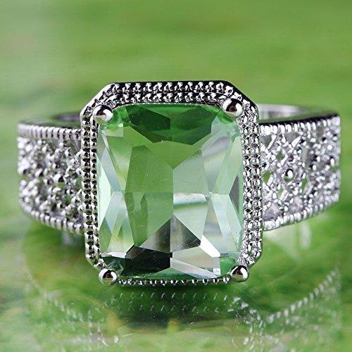 925 Sterling Silver Women Green Emerald Gemstone Ring Wedding Jewelry Size 6-11 (10)