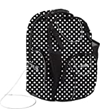 Vaultz Locking Backpack, Fits Laptops up to 16 Inches, 14 X 1 X 19 Inches, Black/White Polka Dot (VZ03610)