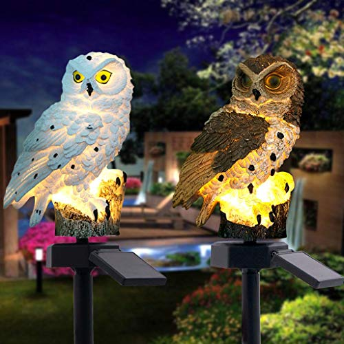 30% 0ff! Highpot Owl Shape Solar Powered LED Lamp Outdoor, Decorative Waterproof Garden Stake Lights for Walkway Yard Lawn Landscape Lighting (Brown+White)