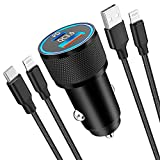 [Apple MFi Certified] iPhone Fast Car Charger, Veetone 38W Dual Port USB C Power Delivery Metal Cigarette Lighter with 2Pack Lightning Braided Cable, PD/QC3.0 Quick Car Charge for iPhone/iPad/Airpods
