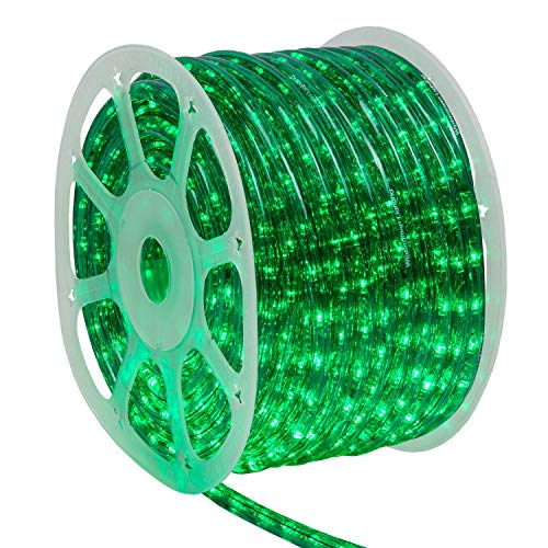 Wintergreen Lighting 150' Green LED Rope Light Kit, LED Flexible Light Rope String Light Outdoor – LED Light Rope Bedroom LED Light Rope, 120V, ½ Inch, 2-Wire (150 ft, Green)